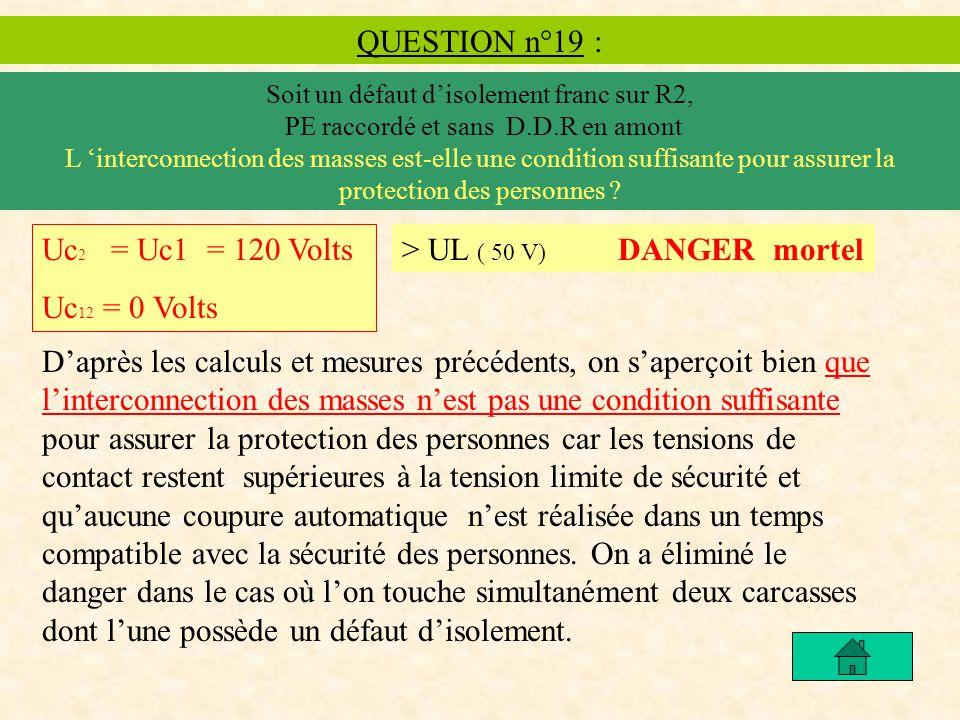 QUESTION n°19 : Soit un défaut disolement franc sur R2, PE raccordé et sans D.D.R en amont L interconnection des masses est-elle une condition suffisante pour assurer la protection des personnes .