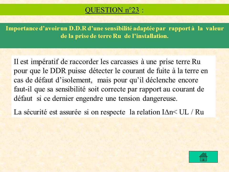 QUESTION n°23 : Importance davoir un D.D.R dune sensibilité adaptée par rapport à la valeur de la prise de terre Ru de linstallation. Il est impératif