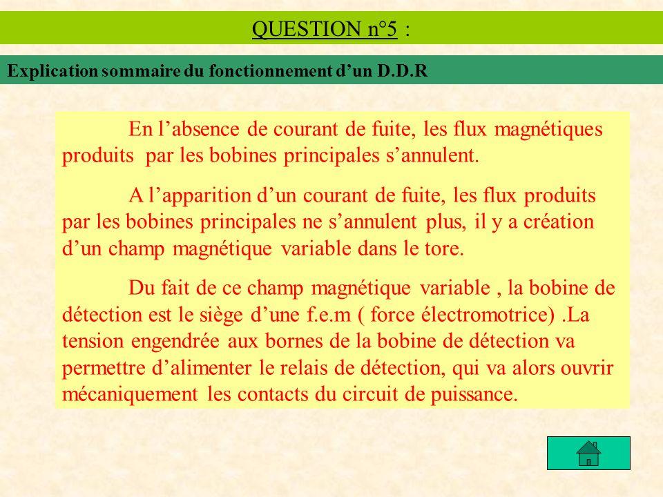 QUESTION n°5 : Explication sommaire du fonctionnement dun D.D.R En labsence de courant de fuite, les flux magnétiques produits par les bobines principales sannulent.