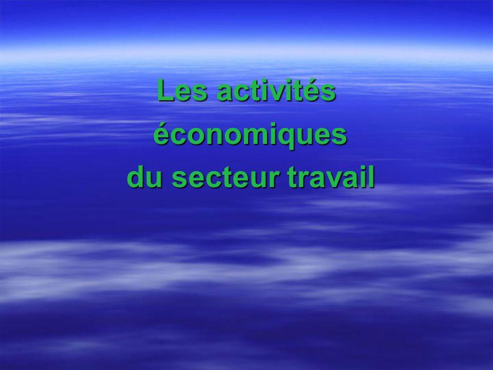 Les activités économiques économiques du secteur travail du secteur travail