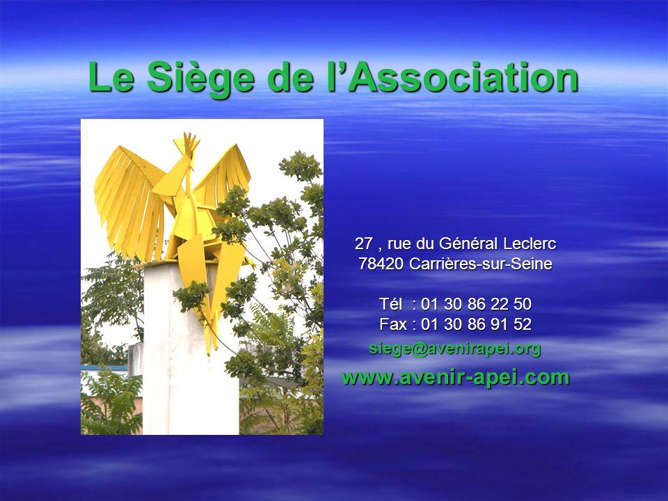 Le Siège de lAssociation 27, rue du Général Leclerc 78420 Carrières-sur-Seine Tél : 01 30 86 22 50 Fax : 01 30 86 91 52 siege@avenirapei.orgwww.avenir-apei.com