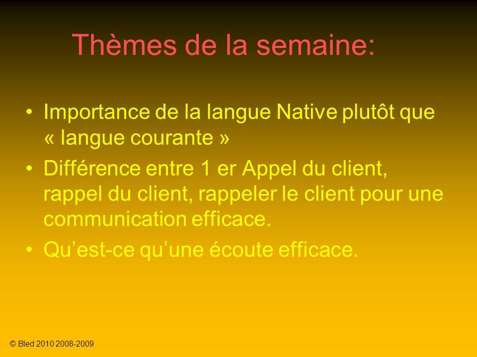 Thèmes de la semaine: Importance de la langue Native plutôt que « langue courante » Différence entre 1 er Appel du client, rappel du client, rappeler