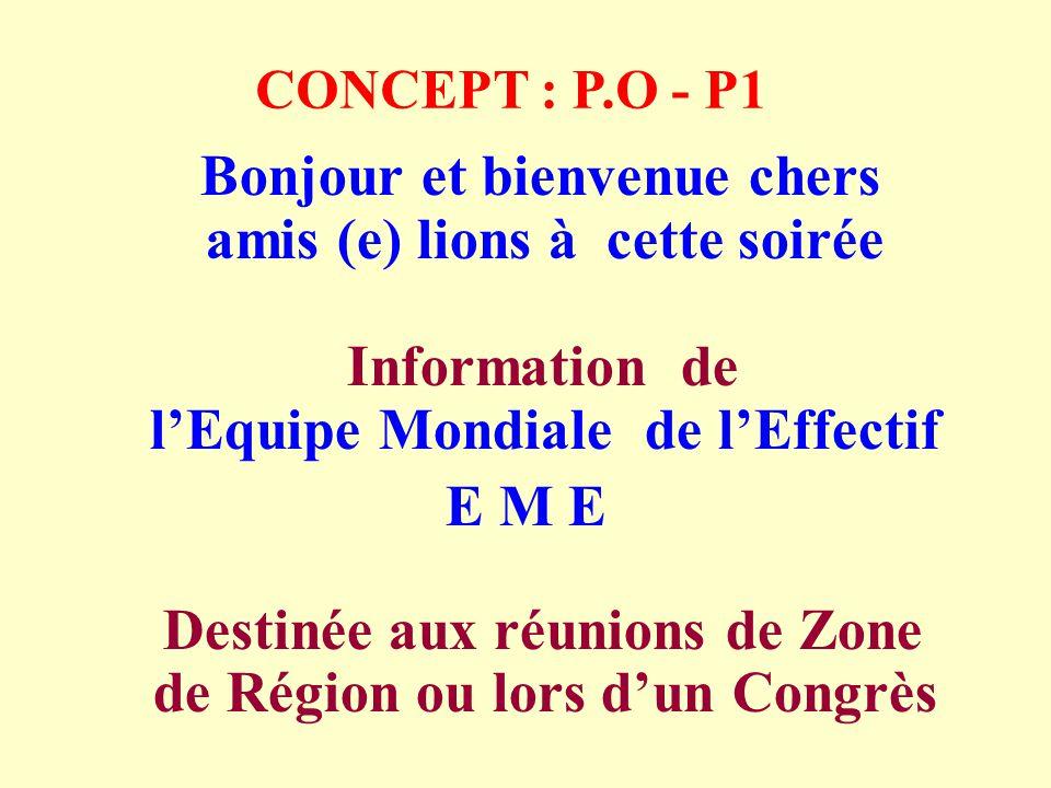 CONCEPT : P.O - P1 Bonjour et bienvenue chers amis (e) lions à cette soirée Information de lEquipe Mondiale de lEffectif E M E Destinée aux réunions de Zone de Région ou lors dun Congrès