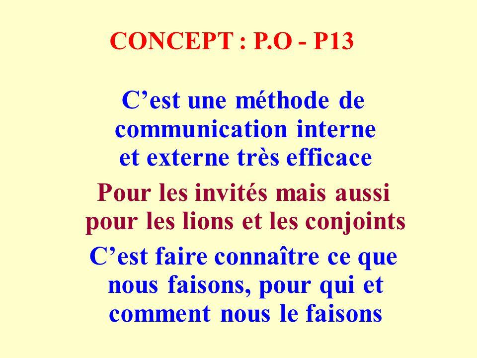 CONCEPT : P.O - P13 Cest une méthode de communication interne et externe très efficace Pour les invités mais aussi pour les lions et les conjoints Cest faire connaître ce que nous faisons, pour qui et comment nous le faisons