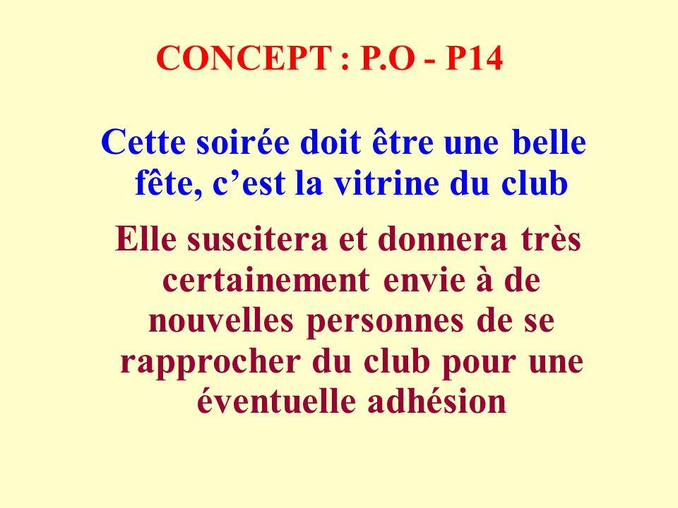 CONCEPT : P.O - P14 Cette soirée doit être une belle fête, cest la vitrine du club Elle suscitera et donnera très certainement envie à de nouvelles personnes de se rapprocher du club pour une éventuelle adhésion