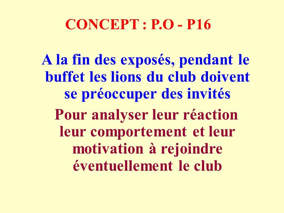 CONCEPT : P.O - P16 A la fin des exposés, pendant le buffet les lions du club doivent se préoccuper des invités Pour analyser leur réaction leur comportement et leur motivation à rejoindre éventuellement le club