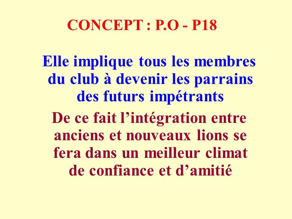 CONCEPT : P.O - P18 Elle implique tous les membres du club à devenir les parrains des futurs impétrants De ce fait lintégration entre anciens et nouveaux lions se fera dans un meilleur climat de confiance et damitié