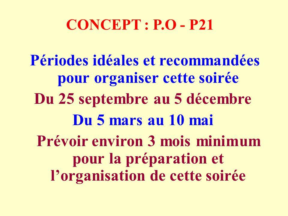 CONCEPT : P.O - P21 Périodes idéales et recommandées pour organiser cette soirée Du 25 septembre au 5 décembre Du 5 mars au 10 mai Prévoir environ 3 mois minimum pour la préparation et lorganisation de cette soirée