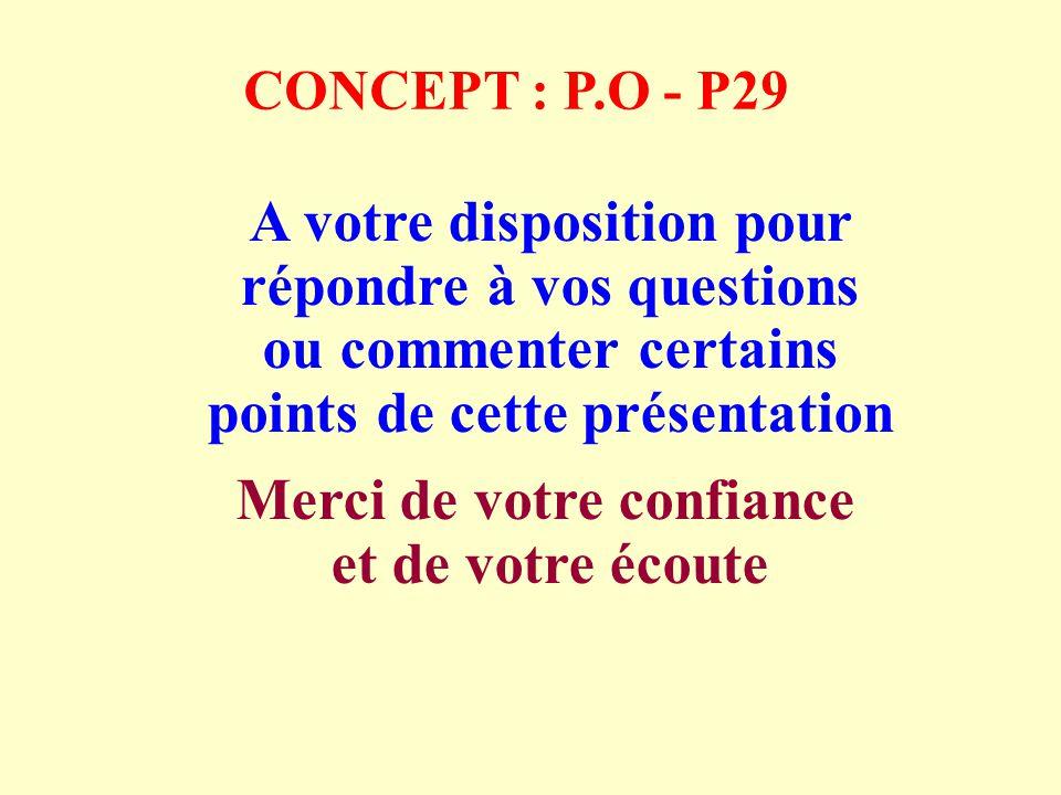 CONCEPT : P.O - P29 A votre disposition pour répondre à vos questions ou commenter certains points de cette présentation Merci de votre confiance et de votre écoute
