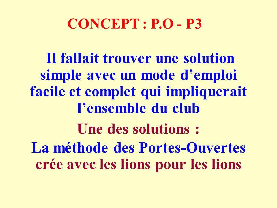 CONCEPT : P.O - P3 Il fallait trouver une solution simple avec un mode demploi facile et complet qui impliquerait lensemble du club Une des solutions : La méthode des Portes-Ouvertes crée avec les lions pour les lions