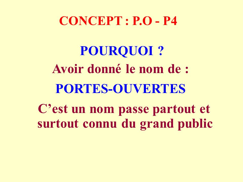 CONCEPT : P.O - P15 Le soir des Portes-Ouvertes il est très important que chaque membre du club soit présent avec son conjoint pour accueillir les invités Pour une raison simple :