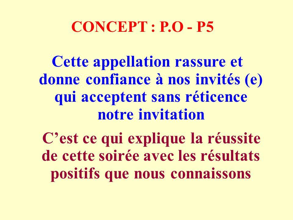 CONCEPT : P.O - P5 Cette appellation rassure et donne confiance à nos invités (e) qui acceptent sans réticence notre invitation Cest ce qui explique la réussite de cette soirée avec les résultats positifs que nous connaissons