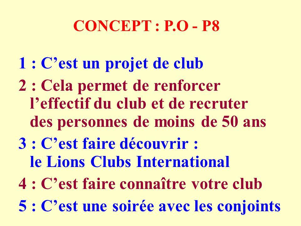 CONCEPT : P.O - P8 1 : Cest un projet de club 2 : Cela permet de renforcer leffectif du club et de recruter des personnes de moins de 50 ans 3 : Cest faire découvrir : le Lions Clubs International 4 : Cest faire connaître votre club 5 : Cest une soirée avec les conjoints