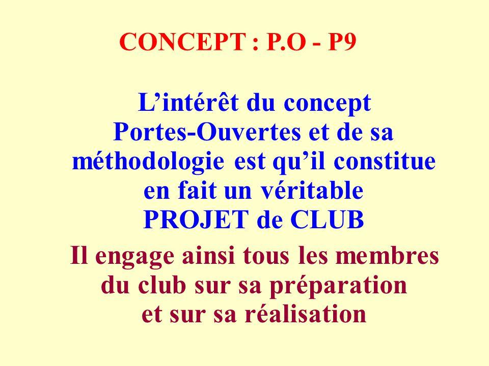 CONCEPT : P.O - P9 Lintérêt du concept Portes-Ouvertes et de sa méthodologie est quil constitue en fait un véritable PROJET de CLUB Il engage ainsi tous les membres du club sur sa préparation et sur sa réalisation
