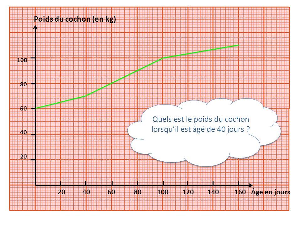 20 40 60 80 100 120 140 160 Âge en jours Quels est le poids du cochon lorsquil est âgé de 40 jours ? 100 80 60 40 20 Poids du cochon (en kg)