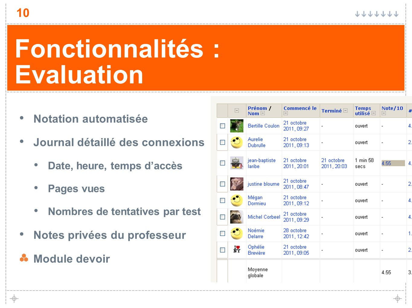 10 Fonctionnalités : Evaluation Notation automatisée Journal détaillé des connexions Date, heure, temps daccès Pages vues Nombres de tentatives par test Notes privées du professeur Module devoir