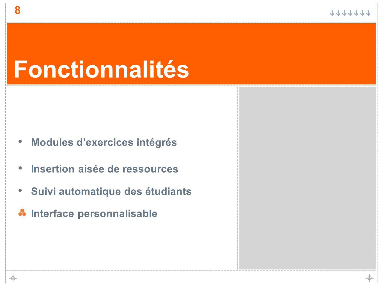 8 Fonctionnalités Modules dexercices intégrés Insertion aisée de ressources Suivi automatique des étudiants Interface personnalisable