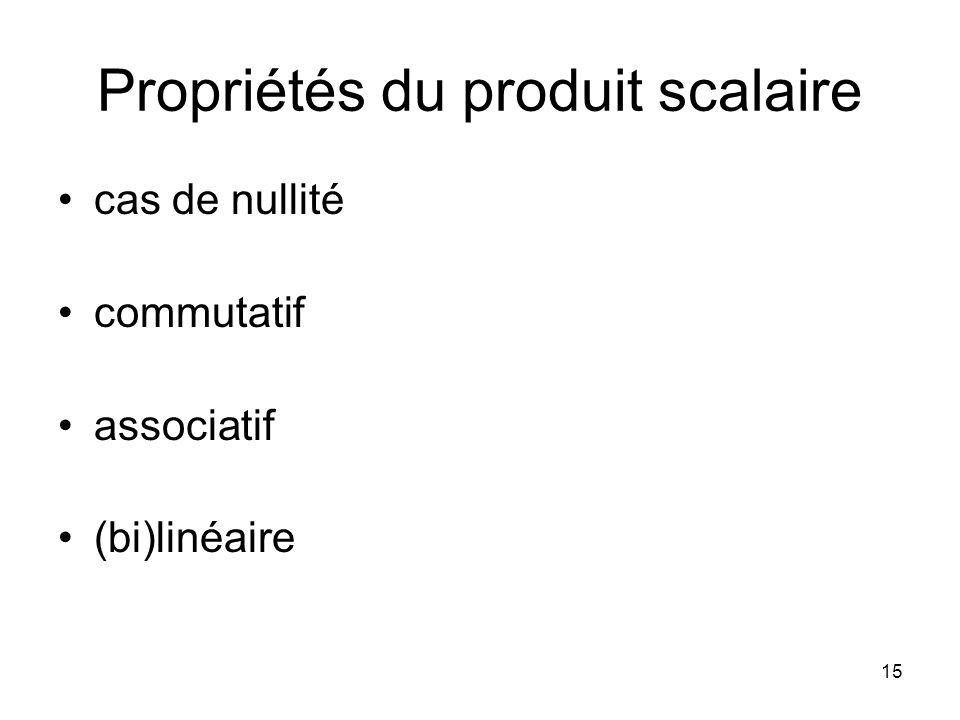 15 Propriétés du produit scalaire cas de nullité commutatif associatif (bi)linéaire