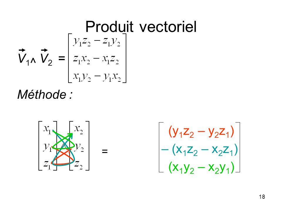18 Produit vectoriel V 1 ^ V 2 = Méthode : (y 1 z 2 – y 2 z 1 ) – (x 1 z 2 – x 2 z 1 ) (x 1 y 2 – x 2 y 1 ) =