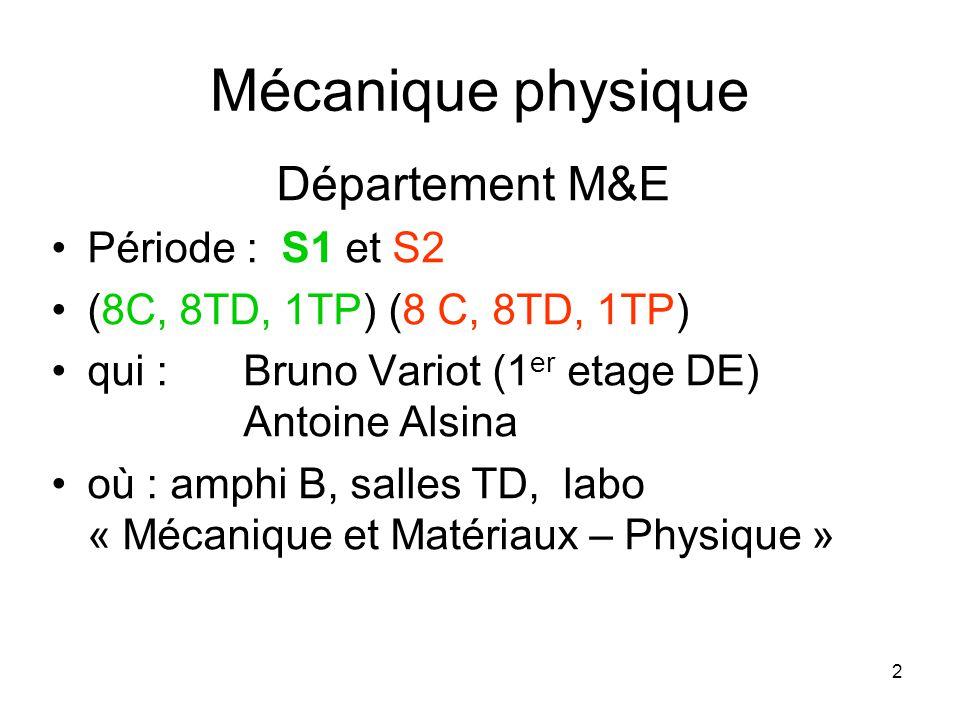 2 Mécanique physique Département M&E Période : S1 et S2 (8C, 8TD, 1TP) (8 C, 8TD, 1TP) qui : Bruno Variot (1 er etage DE) Antoine Alsina où : amphi B, salles TD, labo « Mécanique et Matériaux – Physique »