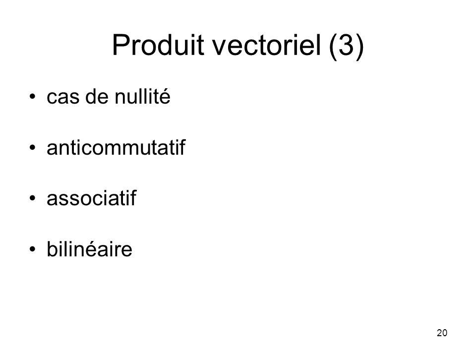20 Produit vectoriel (3) cas de nullité anticommutatif associatif bilinéaire