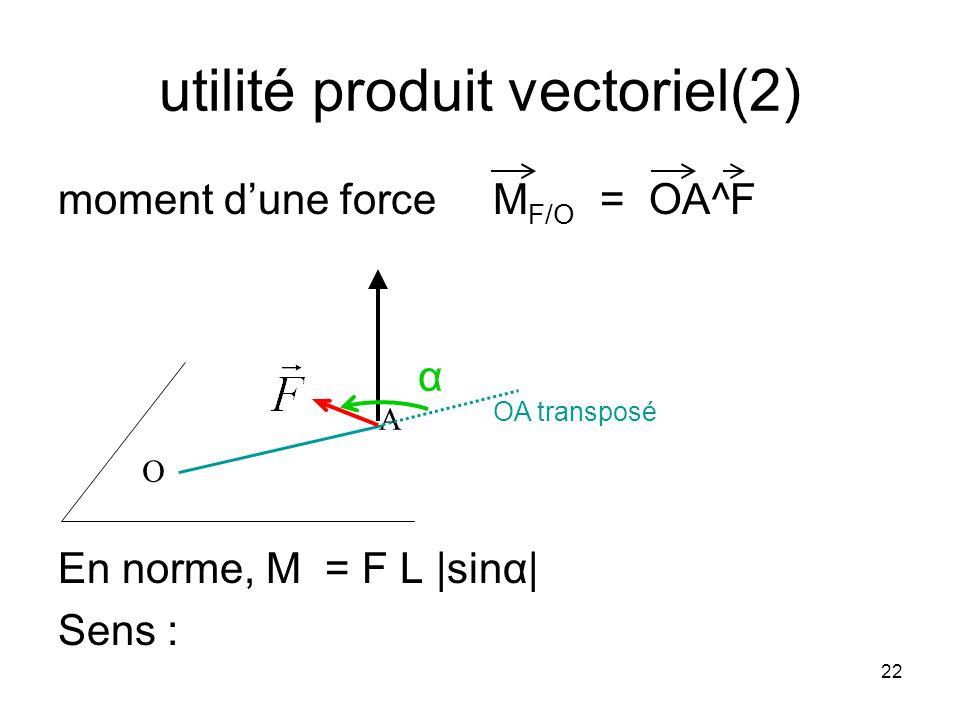 22 utilité produit vectoriel(2) moment dune force M F/O = OA^F En norme, M = F L |sinα| Sens : A O α OA transposé