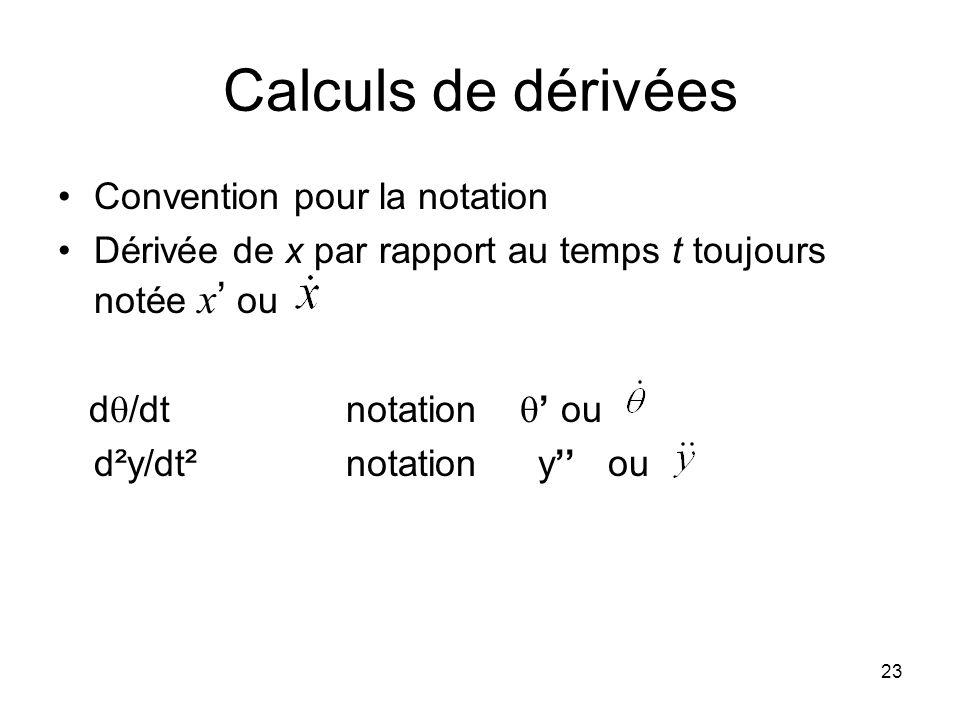 23 Calculs de dérivées Convention pour la notation Dérivée de x par rapport au temps t toujours notée x ou d /dt notation ou d²y/dt²notation y ou