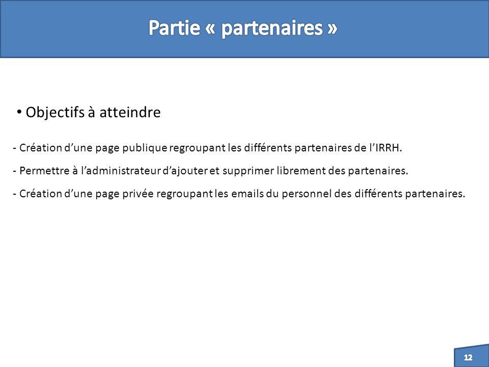 - Création dune page publique regroupant les différents partenaires de lIRRH.