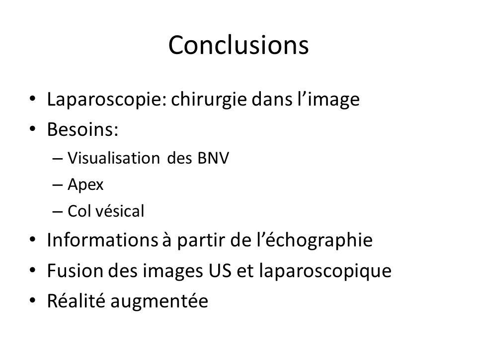 Conclusions Laparoscopie: chirurgie dans limage Besoins: – Visualisation des BNV – Apex – Col vésical Informations à partir de léchographie Fusion des