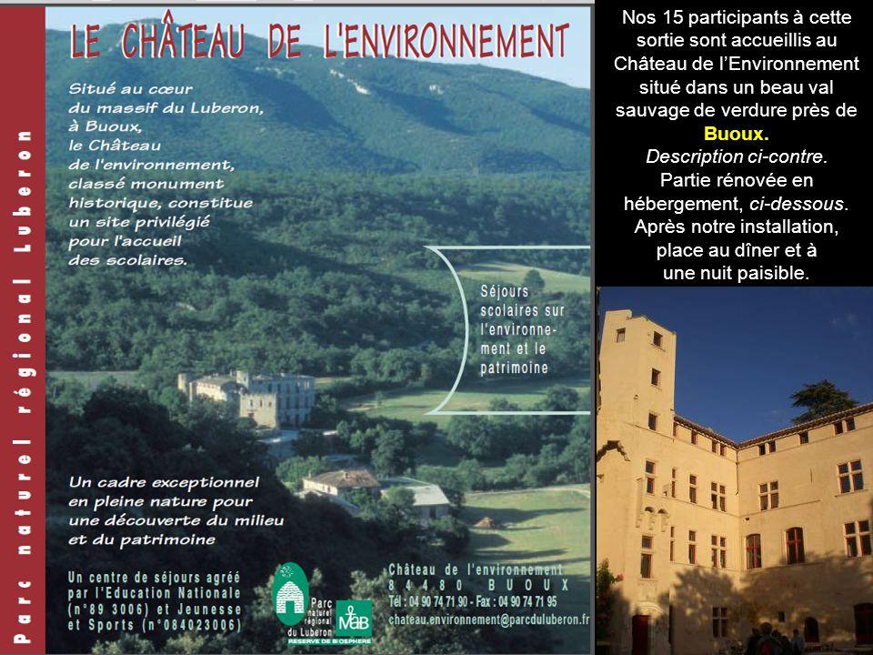 Nos 15 participants à cette sortie sont accueillis au Château de lEnvironnement situé dans un beau val sauvage de verdure près de Buoux.