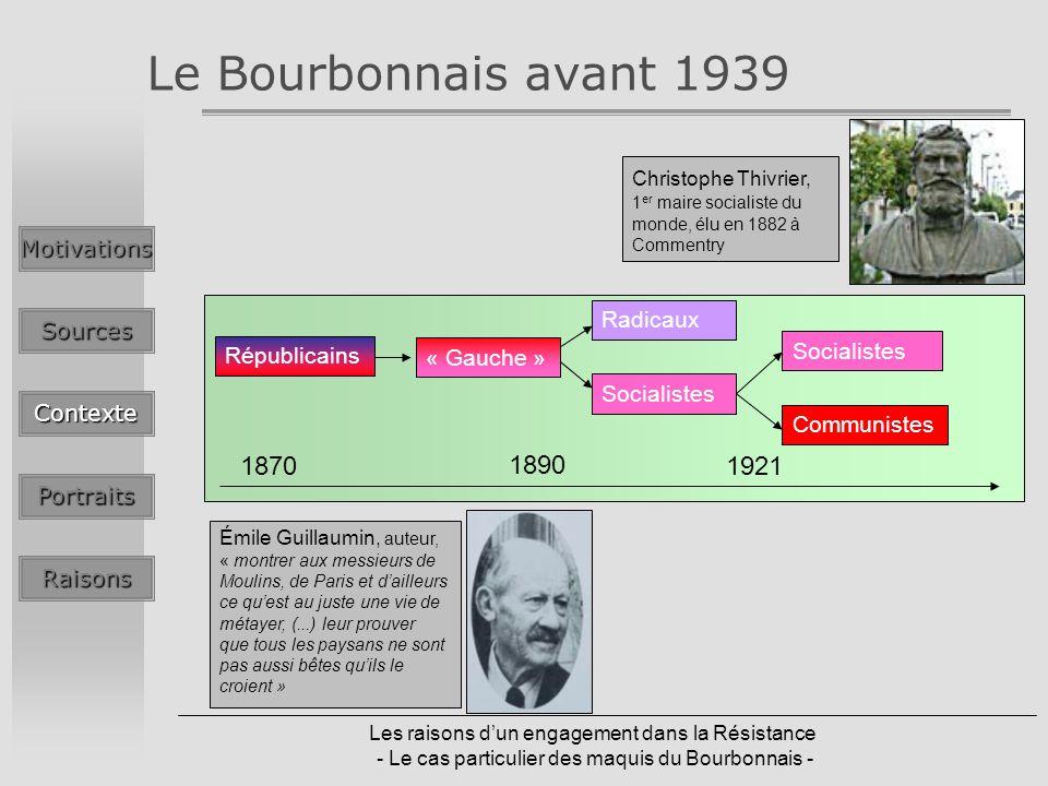 Les raisons dun engagement dans la Résistance - Le cas particulier des maquis du Bourbonnais - Le Bourbonnais avant 1939MotivationsSources Contexte Po