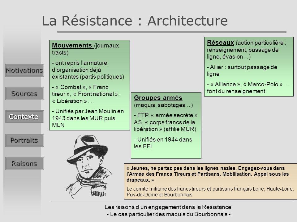 Les raisons dun engagement dans la Résistance - Le cas particulier des maquis du Bourbonnais - La Résistance : ArchitectureMotivationsSources Contexte