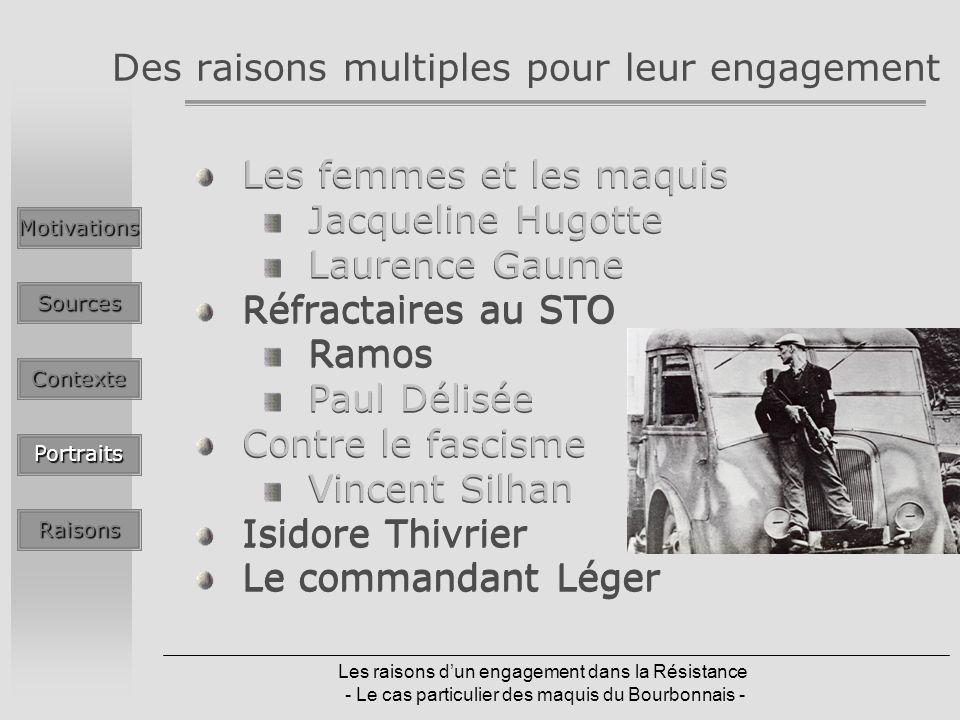 Les raisons dun engagement dans la Résistance - Le cas particulier des maquis du Bourbonnais - Des raisons multiples pour leur engagement Les femmes e