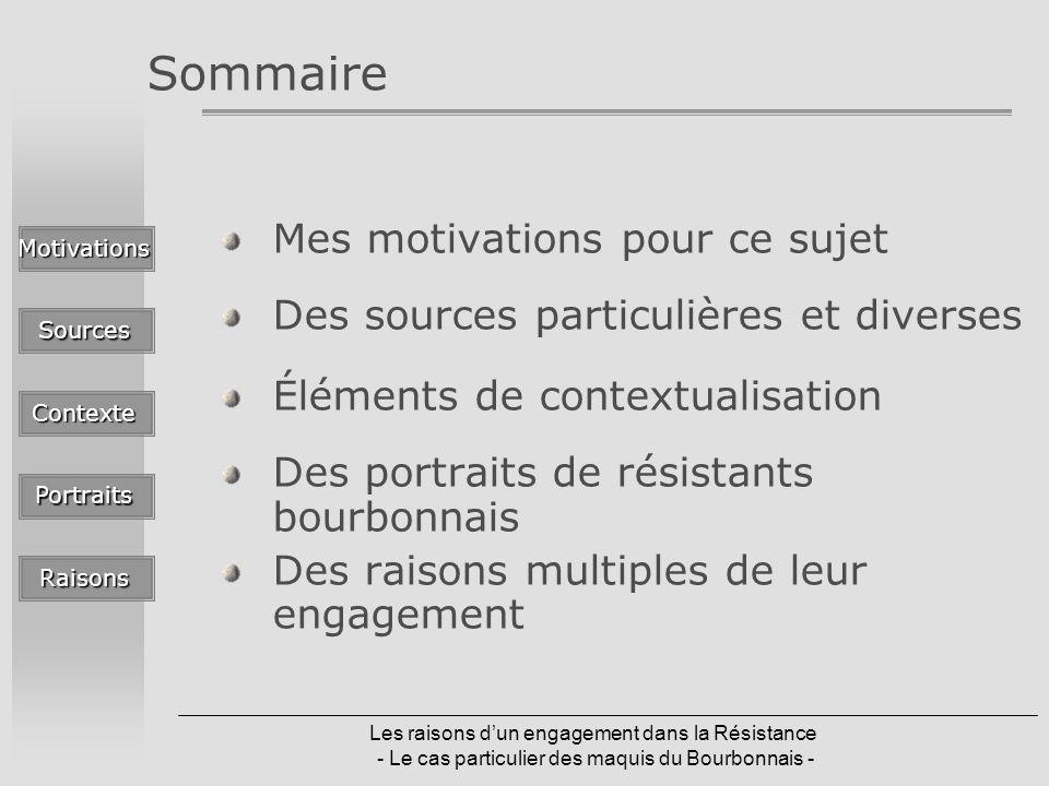 Les raisons dun engagement dans la Résistance - Le cas particulier des maquis du Bourbonnais - Sommaire Mes motivations pour ce sujet Des sources part