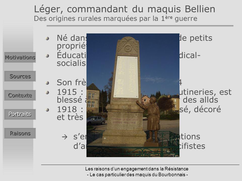 Les raisons dun engagement dans la Résistance - Le cas particulier des maquis du Bourbonnais - Léger, commandant du maquis Bellien Des origines rurale
