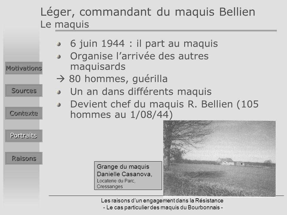 Les raisons dun engagement dans la Résistance - Le cas particulier des maquis du Bourbonnais - Léger, commandant du maquis Bellien Le maquis 6 juin 1944 : il part au maquis Organise larrivée des autres maquisards 80 hommes, guérilla Un an dans différents maquis Devient chef du maquis R.