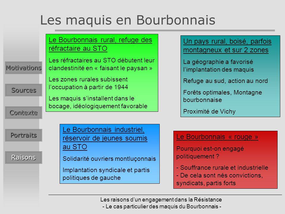Les raisons dun engagement dans la Résistance - Le cas particulier des maquis du Bourbonnais - Les maquis en BourbonnaisMotivationsSources Contexte Po