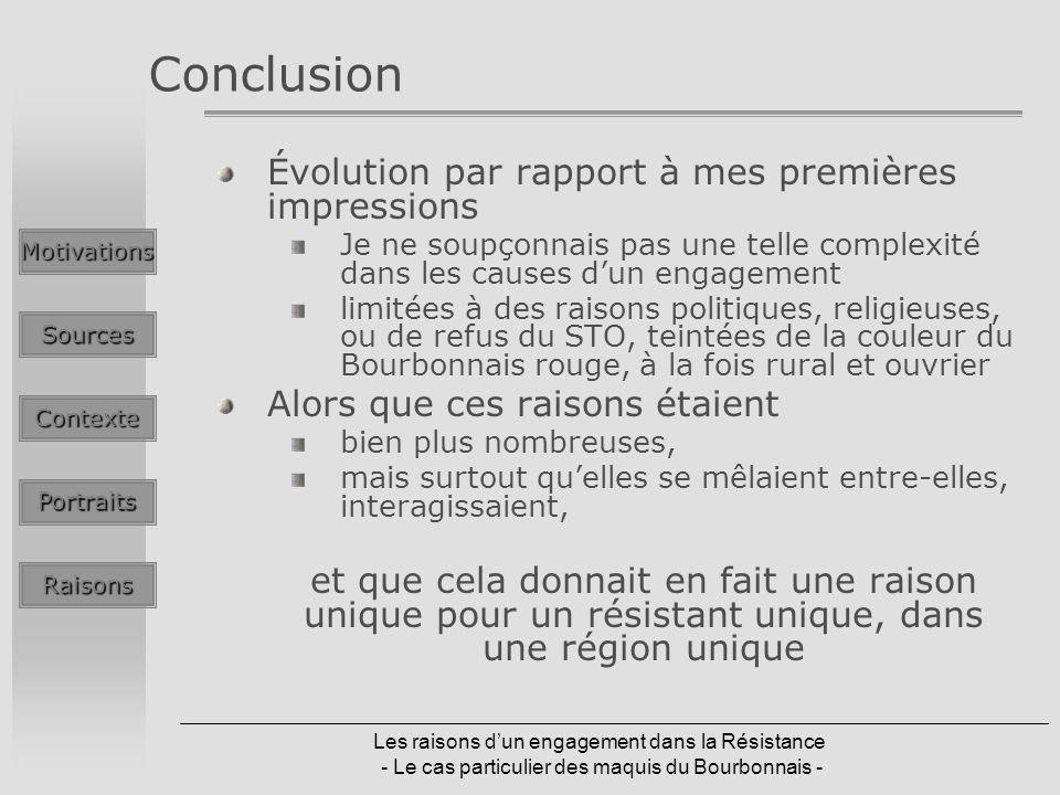 Les raisons dun engagement dans la Résistance - Le cas particulier des maquis du Bourbonnais - Conclusion Évolution par rapport à mes premières impres