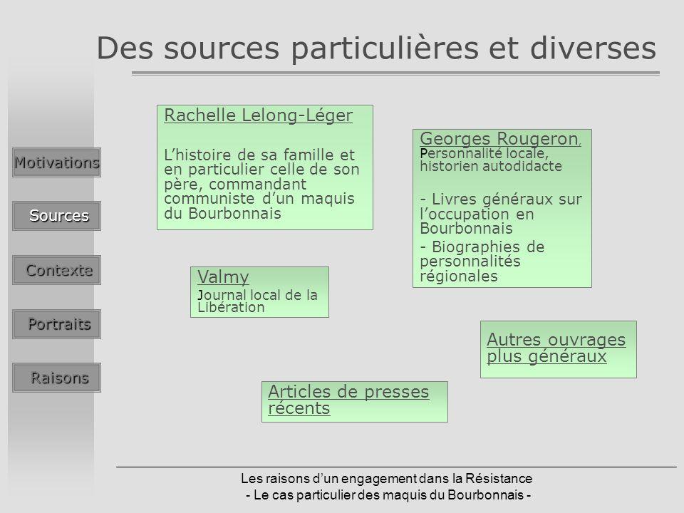 Les raisons dun engagement dans la Résistance - Le cas particulier des maquis du Bourbonnais - Des sources particulières et diverses Autres ouvrages p