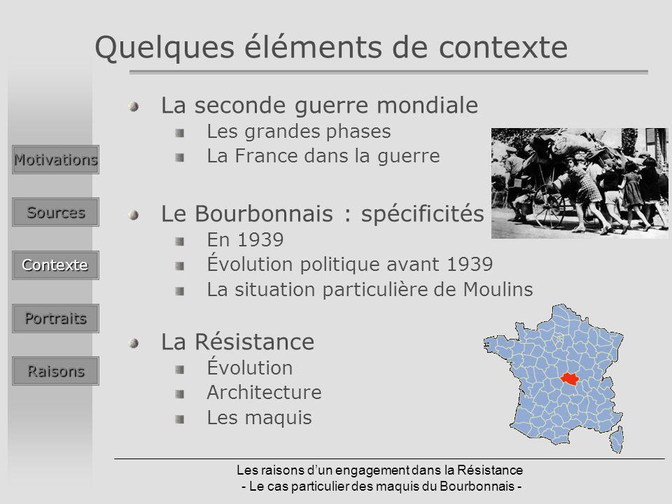 Les raisons dun engagement dans la Résistance - Le cas particulier des maquis du Bourbonnais - Quelques éléments de contexte La seconde guerre mondial