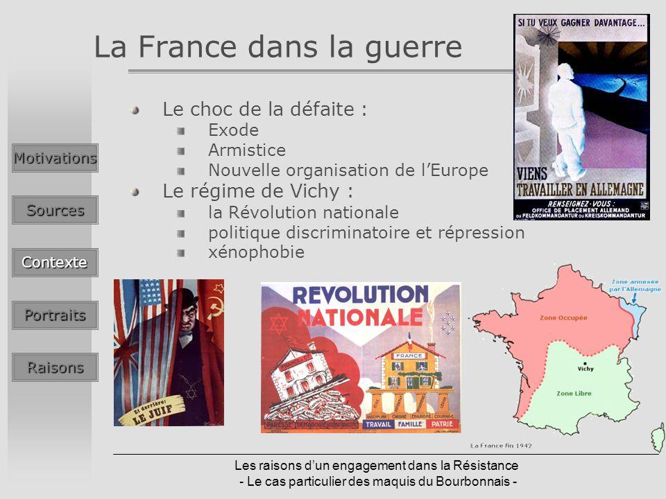 Les raisons dun engagement dans la Résistance - Le cas particulier des maquis du Bourbonnais - La France dans la guerre Le choc de la défaite : Exode