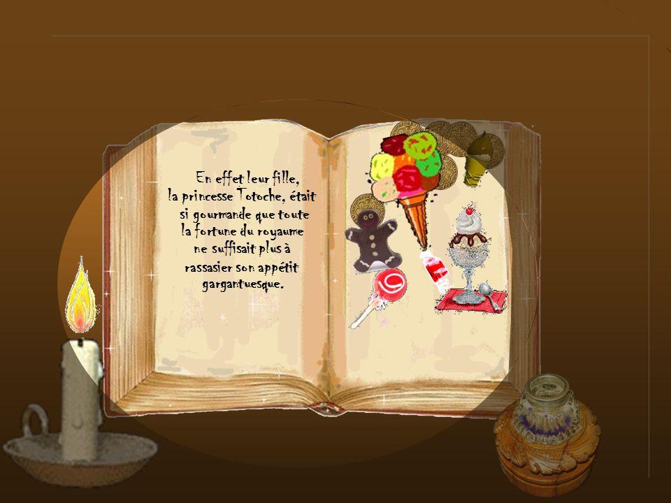 Clique pour fermer le livre de sa gourmandise, Pour récompenser sa Fille, le roi lui offrit un gros gâteau et la princesse qui était désormais guérie le partagea sagement avec ses frères et ses sœurs.