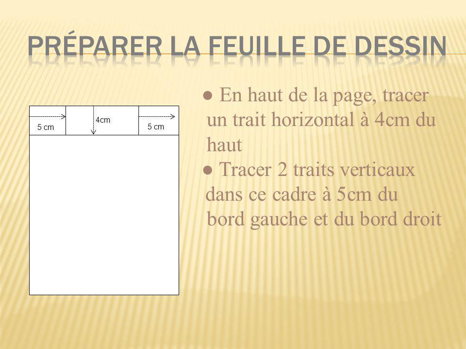 En haut de la page, tracer un trait horizontal à 4cm du haut Tracer 2 traits verticaux dans dans ce cadre à 5cm du bord gauche et du bord droit 5 cm 4cm 5 cm
