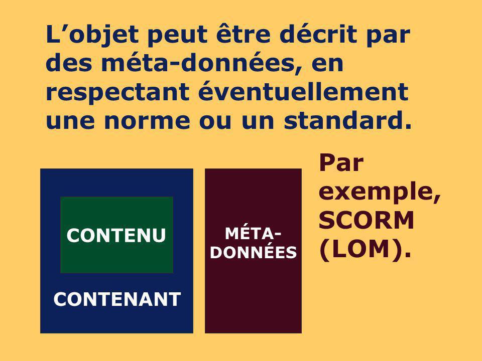 CONTENU CONTENANT MÉTA- DONNÉES À ce stade, le respect dune norme ou dun standard est obligatoire pour lintégration de lobjet dans un LCMS.