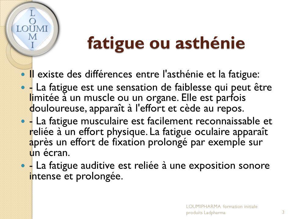 fatigue ou asthénie Il existe des différences entre l asthénie et la fatigue: - La fatigue est une sensation de faiblesse qui peut être limitée à un muscle ou un organe.