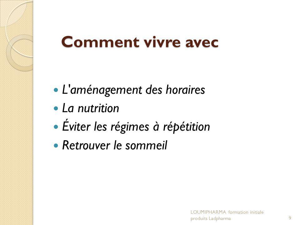 Comment vivre avec L aménagement des horaires La nutrition Éviter les régimes à répétition Retrouver le sommeil LOUMIPHARMA formation initiale produits Ladpharma9