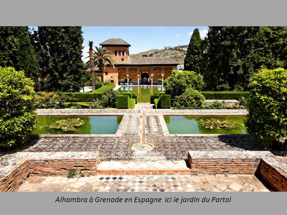 Alhambra à Grenade en Espagne ici le jardin du Partal