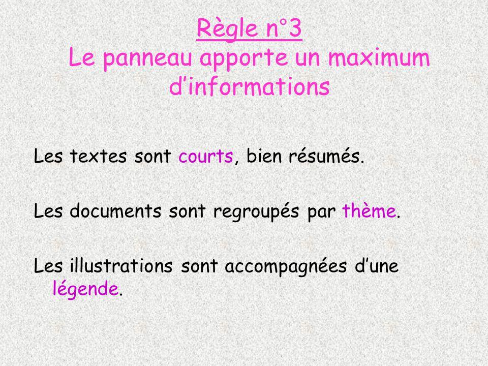 Règle n°3 Le panneau apporte un maximum dinformations Les textes sont courts, bien résumés. Les documents sont regroupés par thème. Les illustrations