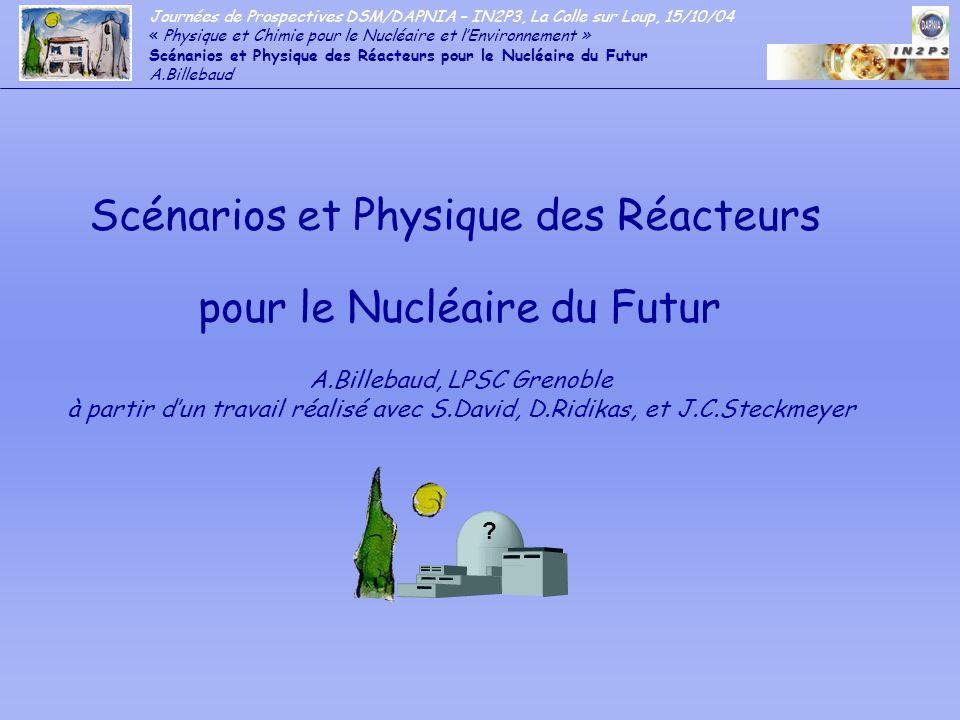 Journées de Prospectives DSM/DAPNIA – IN2P3, La Colle sur Loup, 15/10/04 « Physique et Chimie pour le Nucléaire et lEnvironnement » Scénarios et Physique des Réacteurs pour le Nucléaire du Futur A.Billebaud - Les outils expérimentaux: - Les réacteurs de recherche .