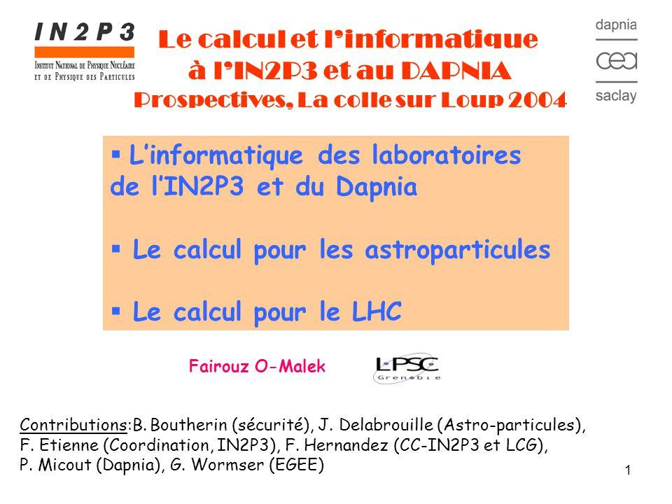 12 Linformatique des laboratoires de lIN2P3 et du Dapnia Le calcul pour les astroparticules Le calcul pour le LHC